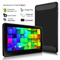 ProntoTec 9 Inch HD Android Tablet PC, Cortex A9 Dual Core 1.2 Ghz, HD (1024 x 600 Pixel) Touch Screen, Android 4.2 OS, 8G Nand Flash, DDR3 1GB RAM, Dual Cameras, Wi-Fi, G-Sensor (Black) from ProntoTec