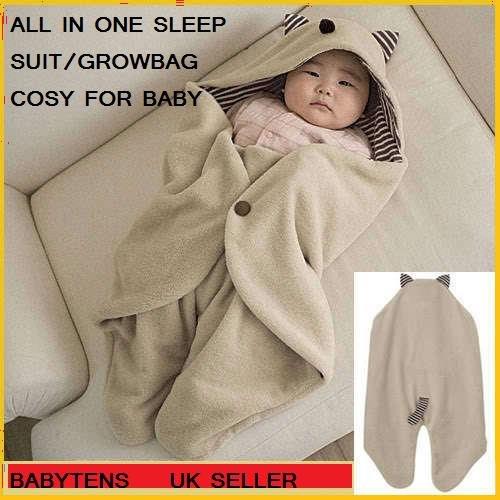 Ezdaily - Copertina avvolgente in cotone e pile, provvista di cappuccio, per neonati da 0 a 18 mesi