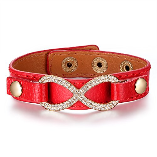 Bamoer 18K Gold Plated Alloy Lover Wrap Bangles Unisex Diamond Leather Jewellry Gift For Him Or Her (Red)