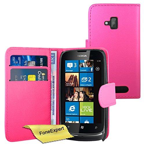 FoneExpert® Wallet Case Flip Cover Hüllen Etui Ledertasche Lederhülle Premium Schutzhülle für Nokia Lumia 610 + Displayschutzfolie (Rosa)