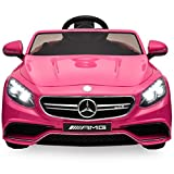 Best Choice Products 12V Kids Battery Powered Licensed Mercedes-Benz S63 Coupe RC Ride-On Car w/ Parent Control, LED Lights, MP3 Player, 3 Speeds - Pink (Color: Pink)