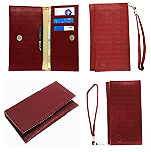 Jo Jo A5 D4 Leather Wallet Universal Pouch Cover Case For Spice Smart Flo Space Mi 354 Wine Red
