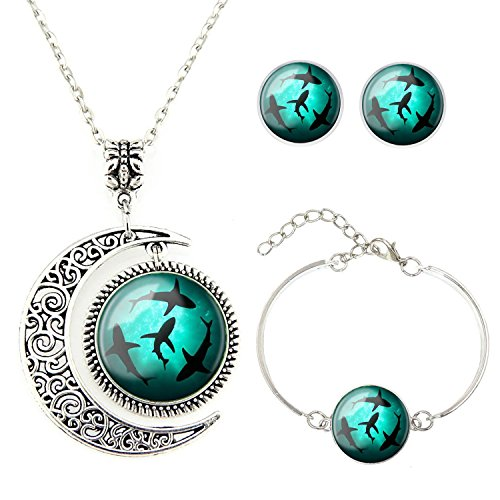 Moon pendant Circling Sharks necklace whale jewelry Shark pendant Best friend Necklace Bracelet Earrings jewelry Set gift for BFF (Kids Shark Bracelet compare prices)