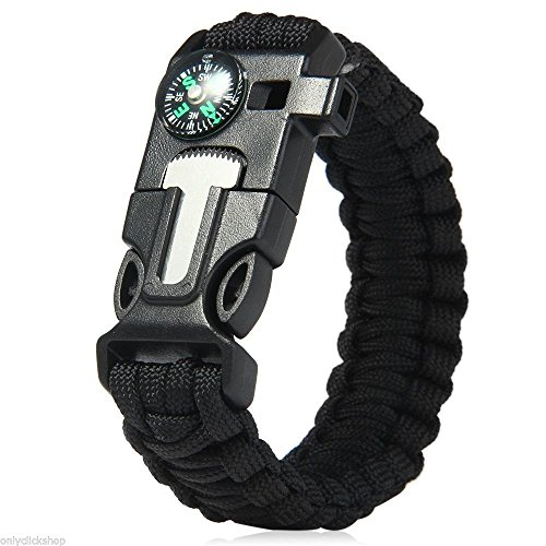 1-Best-Paracord-Bracelet-2PCS-Pack-5-In-1-Outdoor-Paracord-Survival-Kit-550LB-Parachute-Cord-Buckle-with-Compass-Flint-Fire-Starter-Whistle-Emergency-Knife-Scraper-Hiking-Camping-Gear-Black