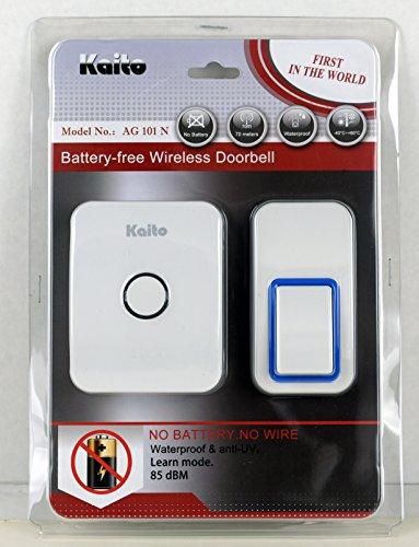 Kaito Wireless Doorbell No Battery Needed, Battery Free Door Chime With 25 Ring Tones, Waterproof