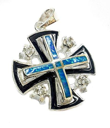 jerusalem-cross-silver-925-opal-stone-with-black-enamel-pendant-zircons-crystal