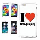 """Handyhülle iPhone 7+ Plus """"I Love Base-Jumping"""" Hardcase Schutzhülle Handycover Smart Cover für Apple iPhone ... in Weiß ... Schlank und schön, das ist unser HardCase. Das Case wird mit einem Klick auf deinem Smartphone befestigt"""