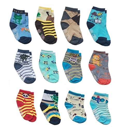 Deluxe Anti Non Skid Slip Slippery Crew Socks With Grips For Baby Toddler Kids Boys (2-4 Years, 12 pair/assorted)