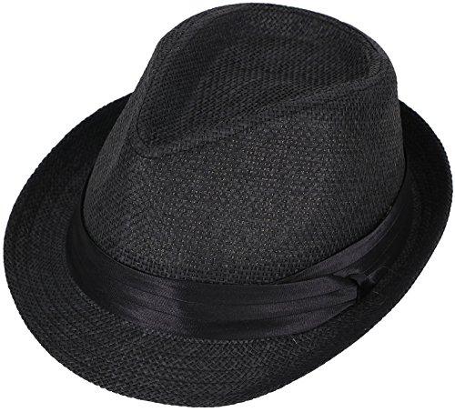AshopZ Unisex Summer Outdoors Short Brim Straw Fedora Hat,Black1LXL (Fedora Hats Extra Large compare prices)