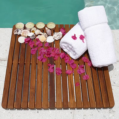 "Le spa Teak Square Floor Mat (Teak Honey Brown Oiled) (24""W x 24""D x 1""H)"