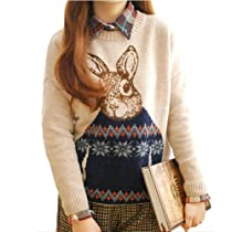 Lady Girls Korean Retro Cartoon Rabbit Knit Loose Pullover Sweater Christmas (Beige)