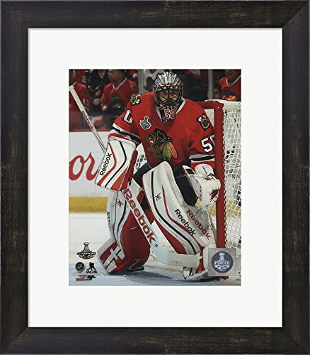 Corey Crawford Game 6 of the 2015 Stanley Cup Finals Framed Art Print Wall Picture, Espresso Brown Frame with Hanging Cleat, 14 x 16 inches