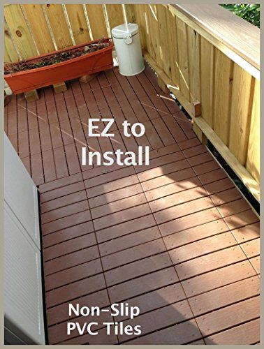 Pack of 12 next generation easylink pvc deck tiles 12 x for Garden decking non slip
