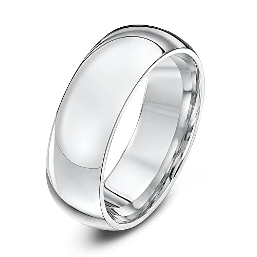 Theia 9ct Gents Heavy Court Shape Wedding Ring - 7 mm, White Gold
