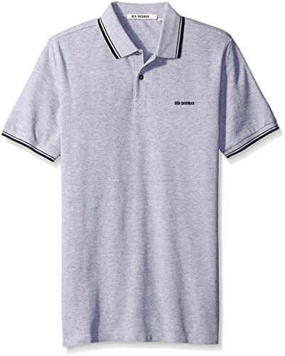 Ben Sherman - Tipped Pique Polo, T-shirt da uomo,  manica corta, grigio(grey (oxford marl)), M