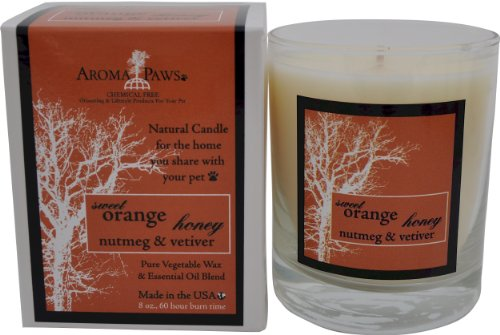Aroma Paws Orange Nutmeg Vetiver Candle in Gift Box