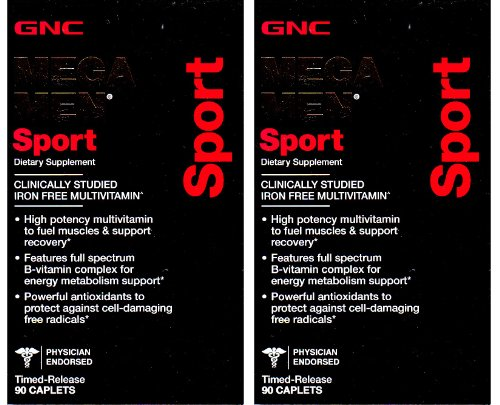 Gnc Mega Men Sport Caplets 90 Count (Two Bottles Each Of 90 Caplets)