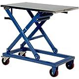 "Vestil CART-660-M Steel Mechanical Scissor Cart, 660 lbs Capacity, 37"" Length x 23-1/2"" Width Platform, 17-1/4 - 39-1/4"" Height Range"