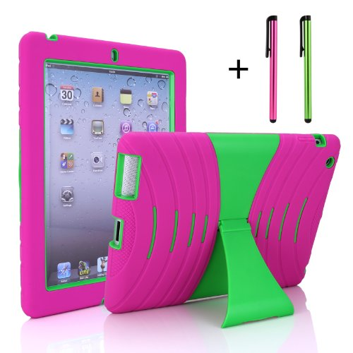Cellular360,LLC Shocks and Drops Proof Rugged Stand Case with Big Kickstand for Landscape Viewing & Free Stylus for Apple iPad 2 iPad 3 iPad 4 -Silicone Outer Layer with Anti-slip Grip Design +Snap-fi