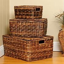 Sofia & Sam Abaca Nesting Baskets w/ Lids