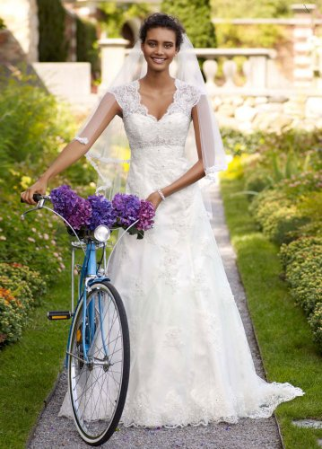 David's Bridal Wedding Dress: Cap Sleeve Lace