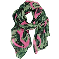 Green Skull Camouflage Infinity Red Stripes Loop Cowl Snood Lightweight Scarf