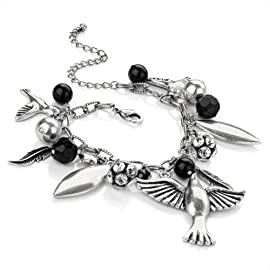 Bird Fashion Charm Bracelet Burnt Silver