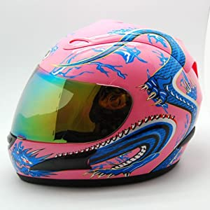 Motorcycle Street Bike Pink Dragon Full Face Woman/Lady Helmet