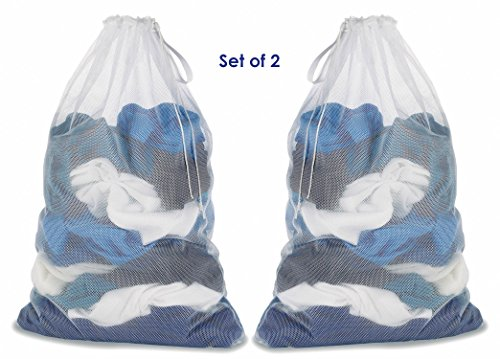 Carry Laundry Bags   Set of 2 Mesh Laundry Bags   Drawstring Closure with Carrying Strap