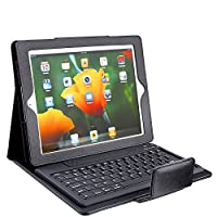 The New Black Leather Case Cover Bluetooth with removable Keyboard for Apple Ipad 2 3 & 4 - Works with IOS WINDOWS from DG SPORTS