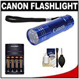 510lCrNrXML. SL160  Canon 9 LED Push Button Flashlight (Blue) with Batteries & Charger + Cleaning Kit for Rebel T2i, T3, T3i, T4i, EOS 60D, 7D, 5D Mark II III Digital SLR Camera