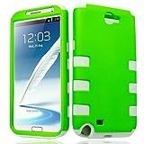 Green White Tuff Shield Dual Hybrid Gel Case Cover For Samsung galaxy Note 2 N7100