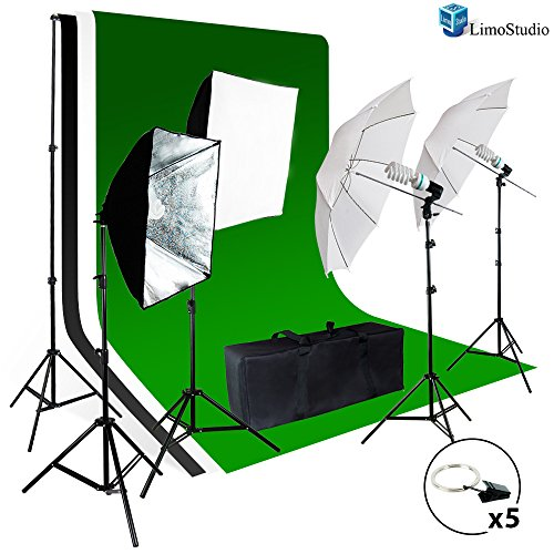 LimoStudio-Photo-Video-Studio-Light-Kit-Includes-Chromakey-Studio-Background-Screen-Green-Black-White-3-Muslin-BackDrops-Umbrella-Softbox-Lighting-Diffuser-Reflector-AGG1388
