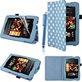 Executive PU Leather Amazon Kindle Fire HD 7 inch 2013 Case Cover Multi Function Standby Bi-Fold Stand with Built-in Magnet for Sleep / Wake Feature + Screen Protector + Capacitive Stylus Pen for New Kindle Fire HD 7-inch 2013 Tablet 16GB or 32GB - Blue