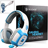 Sades SA906 Gaming Headset Headphone Earphone Over-the -Ear 7.1 USB Surround Sound Stereo With Microphone Vibration LED Lights For PC Games White