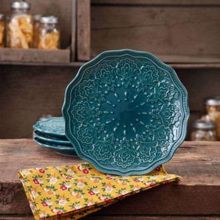 The Pioneer Woman Farmhouse Lace Salad Plate Set, 4-Pack - Ocean Teal (5 Piece Glass Bowl Set Rooster compare prices)