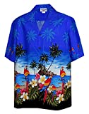 Parrots on the beach frame the border of this authentic mens hawaiian shirt.  Size chart image above.