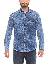Shuffle Men's Casual Shirt (8907423015449_2011512003_Small_Mid Indigo with Random Wash)