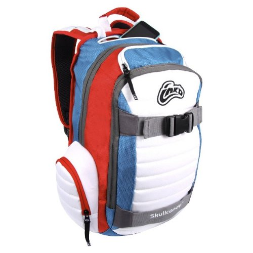 Skullcandy INK'D Downshift Backpack - Red/white/aqua