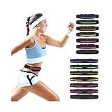 ダブルパック 大容量 防水 ランニング ウエスト ポーチ / メンズ レディース ランナー ジョギング 携帯 ウエストポーチ (ダブル 紫)