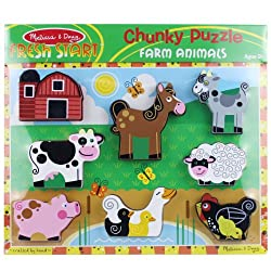 [Best price] Puzzles - Melissa & Doug Farm Wooden Chunky Puzzle - toys-games
