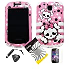 4 items Combo: ITUFFY LCD Screen Protector Film + Mini Stylus Pen + Case Opener + Pink Bow Happy Skull Black White Polka Dot Design Rubberized Hard Plastic + Soft Rubber TPU Skin Dual Layer Tough Hybrid Case for Straight Talk Samsung Galaxy Proclaim 720C SCH-S720C / Verizon Samsung Illusion i110