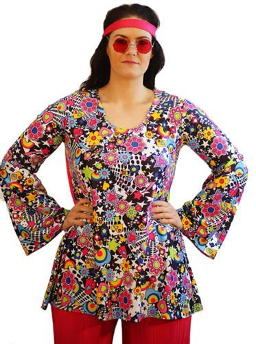 Groovy-Fancy Dress-Flower Power-1960s-1970s-Hippy Ladies FLOWER POWER TOP - From Plus Sizes 16-42 (Ladies: 32-36)
