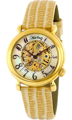 Stuhrling Original Women's 108.1235S7 Classic Wall Street Automatic Skeleton Gold Tone Dial Sand Band Watch