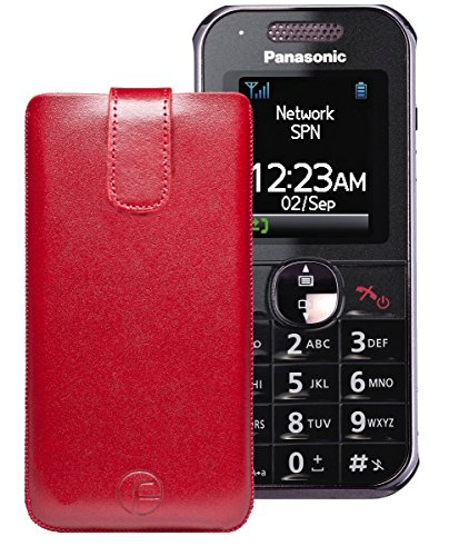 Favory ECHT Ledertasche Leder Etui / Panasonic KX-TU325 - Panasonic KX-TU320 - Panasonic KX-TU321 Tasche (Lasche mit Rückzugfunktion) rot