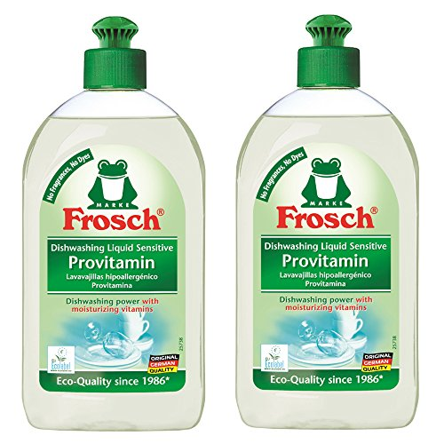 Frosch Natural Unscented Sensitive Provitamin Liquid Hand Dish Washing Soap, Free & Clear, 500 ml (Pack of 2) (Hypoallergenic Dishwashing Liquid compare prices)