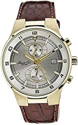Kenneth Cole Men's KC1345 Reaction Gold-Tone Brown Leather Watch
