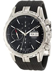 Edox Men's 01113 3 NIN Grand Ocean Automatic Chronograph Black Dial Rubber Watch