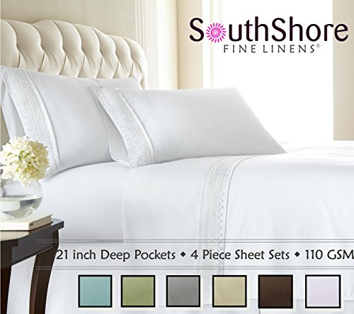 Southshore Fine Linens (TM) Aspen Lace® Deep Pocket Sheet Set with Beautiful Lace - WHITE - Queen image