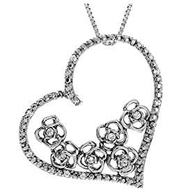 17mm x 8mm Solid 925 Sterling Silver Simulated Birthstone White Simulated Topaz /& Diamond Pendant .01 cttw.